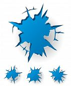White cracked background with blue hole. Vector Illustration