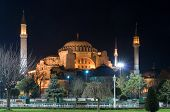 Haghia Sofia Museum At Night Istanbul Turkey