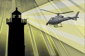 Lighthouse guiding a Helicopter