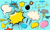 Pop Art Cloud Bubble. Blah, Blah, Blah Funny Speech Bubble. Trendy Colorful Retro Vintage Comic Back poster