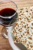 stock photo of piety  - Wine and matzoh  - JPG