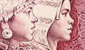 Detail of half chinese yuan banknote macro