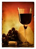 Vintage poscard with still-life isolated over white background