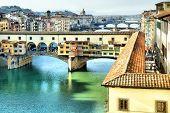 Puente Ponte Vecchio en Florencia, Italia
