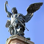 Saint Michael statue in Castel Sant Angelo . Rome. Italy.