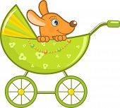Baby animal in the stroller, vector illustration