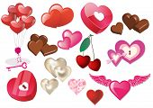Set of Valentine hearts and heart icons