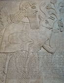 stock photo of sumerian  - Ancient Assyrian wall carving of a man