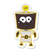 sticker of a happy energized cartoon robot poster