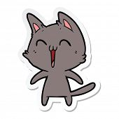 sticker of a happy cartoon cat meowing poster