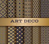 Art Deco Seamless Pattern. Luxury Geometric Nouveau Wallpaper, Elegant Classic Retro Ornament. Vecto poster