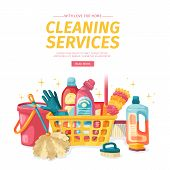 Design Banner House Cleaning With  Cleaning Products. Cartoon Illustration Household Chemicals. Teml poster
