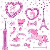 Valentine doodle set, vector eps8 illustration