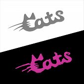 Cats Word Stylish Fashion Logo With Ears And Whiskers. poster