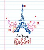 Eiffel tower in Paris, doodle style