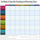 An image of a six meals a weekly day diet tracking and planning chart.