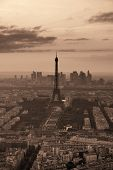 Paris city rooftop view with Eiffel Tower black and white.  poster