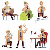 Cartoon Detective. Character Spy Looking Eyes Magnifier Private Agent Disclose Case Search Crime Sur poster