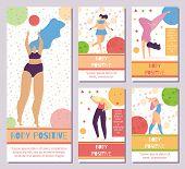Set Network Mobile Editable Stories Body Positive Motive Plus Size Active Sporty Pretty Elegant Woma poster