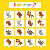 Counting Game For Children Of Preschool Age. Learning Mathematics. How Many Animals In The Picture.  poster