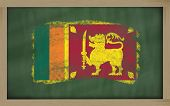 National Flag Of Srilanka On Blackboard Painted With Chalk