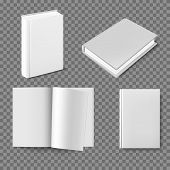 Set Of Blank Book Cover Template. Closed Vertical Book, Magazine Or Notebook Mockup On White Backgro poster