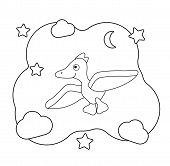 Funny Cartoon Dinosaur Character. Dino Print For Coloring. Pterodactyl Flies Among The Clouds And St poster