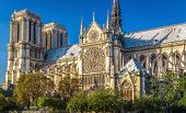 Notre Dame De Paris At Sunset, France. It Is One Of The Top Landmarks Of Paris. Scenic View Of The F poster