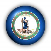 Round Button Usa State Flag Of Virginia