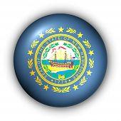 Bandeira de redondo botão EUA estado de New Hampshire