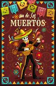 Dia De Los Muertos Skeleton Skull Playing Guitar In Mexican Holiday Mariachi Sombrero And Suit. Day  poster