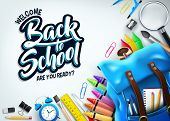 Back To School In White Background Banner With Blue Backpack And School Supplies Like Notebook, Pen, poster