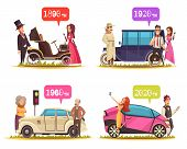 Human Characters And Ground Transportation From Ancient Time Till Today Cartoon Design Concept Isola poster