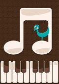 Musical illustration with little bird. Vector illustration.