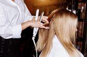 Beautiful Woman In Hair Salon poster