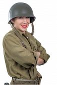 A Pretty Young Woman Dressed In American Ww2 Military Uniform With M1 Helmet On White poster