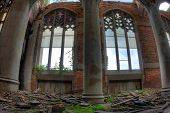 Abandoned City Methodist Church. Stained glass windows.
