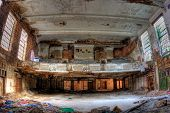 Auditorium. Abandoned City Methodist Church in Gary Indiana