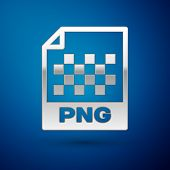 Silver Png File Document Icon. Download Png Button Icon Isolated On Blue Background. Png File Symbol poster