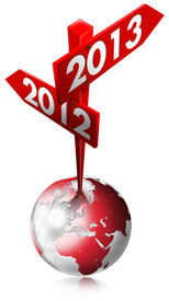 foto of happy new year 2013  - Red Sign with two arrows and written 2012 - JPG