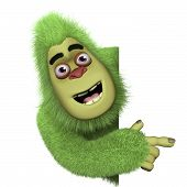 pic of bigfoot  - 3 d caertoon cute green monster bigfoot - JPG