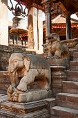 Statues At The Entrance To Temple, Bhaktapur