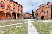Piazza Santo Stefano And Seven Churches In Autumn Day In Bologna, Italy