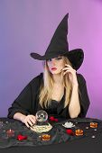 picture of witch ball  - Witch with crystal ball - JPG