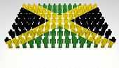 stock photo of jamaican flag  - Parade of 3d people forming a top view of Jamaican flag - JPG