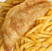 Fish & chips. Battered cod fillet with French fries.