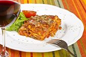 Meat Lasagna and Red Wine