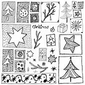 set of abstract sketchy christmas design elements