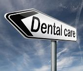 dental care oral hygiene or surgery for healthy teeth without caries but with a beautiful smile road sign with text