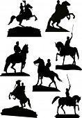 illustration with set of horsemen monuments isolated on white background